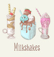 milkshakes and ice cream hand drawn doodle vector image