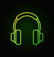 on-ear headphones green icon in thin line vector image vector image