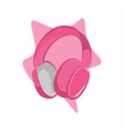 pink headphone vector image vector image