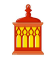 red and yellow turkish lantern icon cartoon style vector image vector image