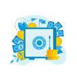 safe box with money saving dollar coins vector image