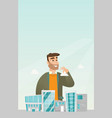 sales manager presenting city model vector image vector image