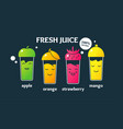 set fresh juices in glasses a poster on the topic vector image vector image