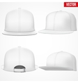 Set Layout of Male white rap cap vector image vector image