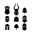 set of black icons of knightly helmets vector image vector image