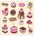 Set of cute cake vector image vector image