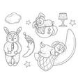 set of sleeping bunnies doodle style line art vector image vector image