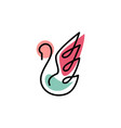 swan outline colorful logo icon vector image