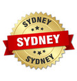 sydney round golden badge with red ribbon vector image vector image