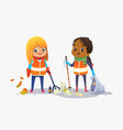 two girls wearing unoform collect rubbish for vector image