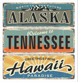 vintage tin sign collection with us alaska vector image vector image