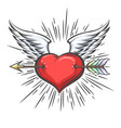 winged heart pierced arrow tattoo vector image vector image