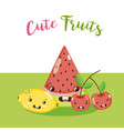 cute fruits kawaii cartoons vector image