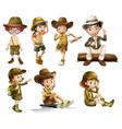 Boys and girls in safari costume vector image
