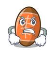 angry rugby ball mascot cartoon vector image vector image