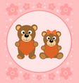 background card with funny bears cartoon vector image vector image