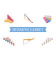 bar chart elements isometric set vector image vector image