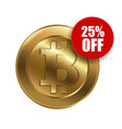 bitcoin sign with sale sign 25 percent vector image