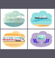 boat and airplane collection vector image vector image