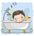 boy in the bathroom vector image