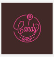candy shop logo round linear logo candy store vector image vector image