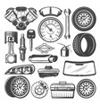 car spare parts and instruments sketch set vector image vector image