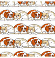 cartoon dog and cat on white seamless vector image vector image