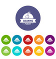 cleaning purity icons set color vector image vector image