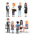 confident people on business meeting sit at table vector image