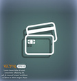 Credit card icon symbol on the blue-green abstract vector image vector image