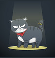 cute black cat in bad boy character cartoon vector image vector image