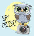 cute owl with a camera on a blue background vector image vector image