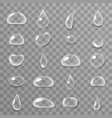 drops 3d realistic liquid water surface icons set vector image vector image