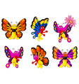 funny butterfly cartoon set vector image vector image