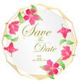golden wedding invitation card hibscus flower vector image vector image