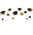 graduate caps baner black and gold color on a vector image vector image