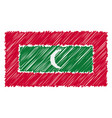 hand drawn national flag of maldives isolated on a vector image