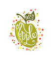 hand sketched apple lettering typography vector image