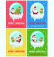happy new year merry xmas postcard santa and elf vector image vector image