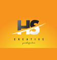 hs h s letter modern logo design with yellow vector image vector image