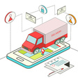 Isometric concept of online delivery vector image