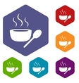 Lunch time rhombus icons vector image vector image