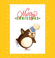 merry christmas greeting card penguin on skates vector image