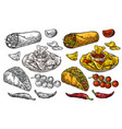 mexican traditional food set burrito tacos chili vector image vector image