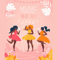 music festival girls musical band perform on stage vector image
