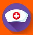 nurse hat icon flat nurse icon vector image vector image