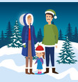 parents couple with daughter in the snowscape vector image