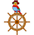 parrot on the wheel vector image