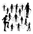 people jumping rope silhouettes vector image