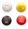realistic glossy sale buttons or badges vector image vector image